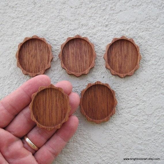 Handmade Natural Mahogany Wood Cameo Bezel Setting for Pendant or Brooch