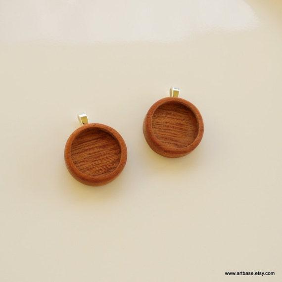Blank Bezel Pendant - Handmade Wooden Blank - Pendant Setting - Miniature Photo Pendant - Blank Bezel Cup - 18 mm Int. Circle - Set of Two