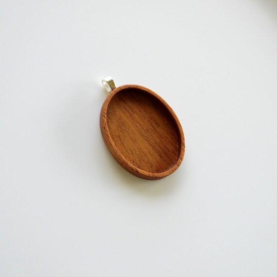 Pendant Tray - Blank Bezel - Wood Setting - Handmade by Artbase - Pendant Blank - Mahogany - Oval - (A2)