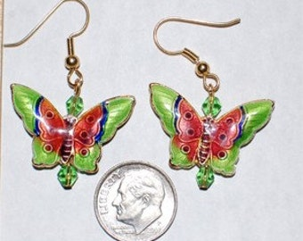 Cloisonne Butterfly Earrings - Lime Green and Pink