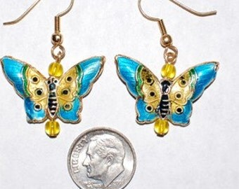 Cloisonne Butterfly Earrings - Blue and Yellow