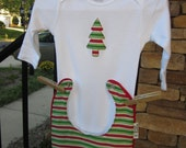 GIFT SET Christmas Tree Baby Bib and Long Sleeve Body Suit
