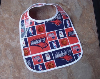 WATERPROOF WIPEABLE Baby to Toddler Charlotte Bobcats Plastic Coated Bib