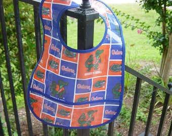 WATERPROOF WIPEABLE Baby To Toddler Bib Florida Gators Wipeable Plastic Coated Bib