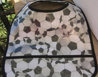 WATERPROOF WIPEABLE Baby Bib Soccer Balls All Over Wipeable Plastic Coated Bib