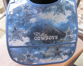 WATERPROOF WIPEABLE Baby Bib Dallas Cowboys Wipeable Plastic Coated Bib