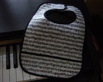 WATERPROOF WIPEABLE Baby Bib Baby Mozart Sheet Music Wipeable Plastic Coated Bib