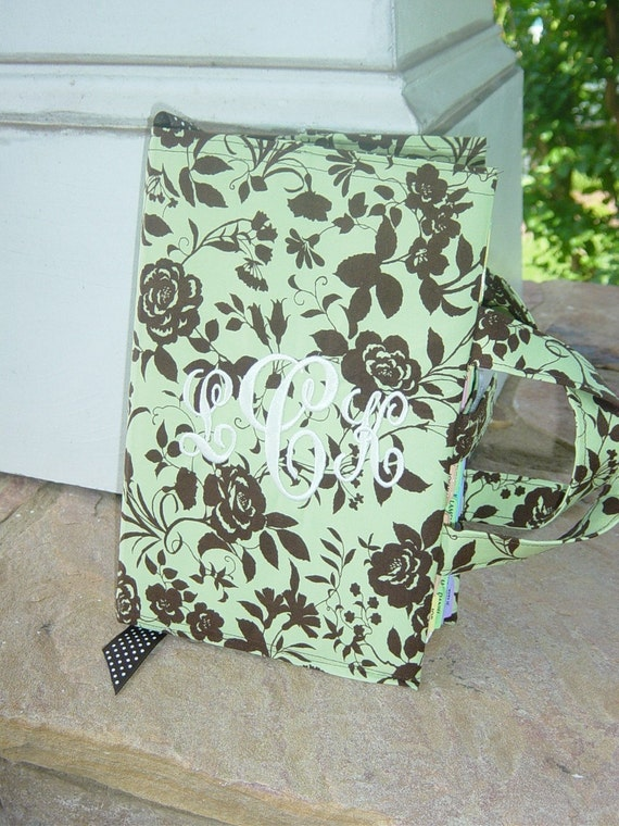 YOU CHOOSE Fabric Custom Monogrammed Bible or Book Cover with Carrying Handle