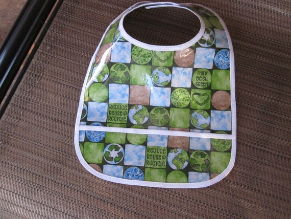 CLEARANCE ** WATERPROOF WIPEABLE Baby Bib Reduce, Reuse, Recycle Wipeable Plastic Coated Bib