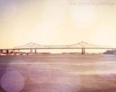 new orleans art, pink home decor, french quarter art, new orleans photo, fine art, landscape, bokeh, Greater NOLA Bridge