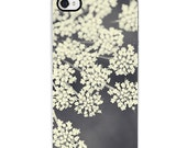 phone case floral iPhone case - Queen Anne's Lace in Black and White no. 1 - Fine Art Photography iphone 4 and 4s