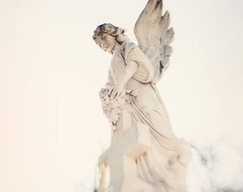 new orleans art, angel statue, white decor, louisiana photography, cemetery, religious, st louis cemetery, Angel No 2