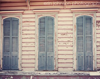 new orleans art french quarter fine art new orleans louisiana photography pink home decor blue home decor Three Shutters