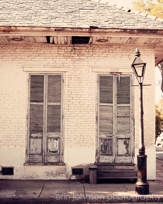 new orleans photography french quarter architecture lamppost fine art white home decor Old Shutters