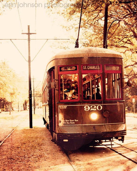 new orleans art street car photography vintage wall art brown home decor new orleans photogaph The St Charles Line