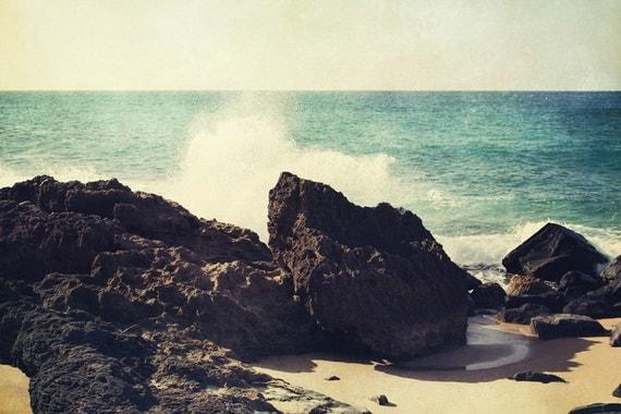 beach photography, blue decor, san juan puerto rico, caribbean decor, tropical decor, brown decor, ocean, coastal living Splash
