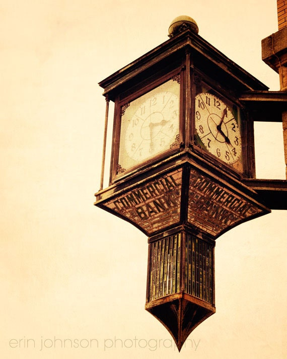 clock photography, old bank building, alabama photography, brown decor, vintage wall art, clock wall art, Time is Ticking