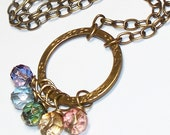 Eternal Rainbow Cluster Necklace - HALF PRICE SALE - WAS 25.00 - NOW 12.50