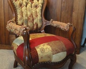 Patchwork Tufted Victorian Antique Walnut Chair, unchanginggrace