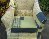 Upholstered Green-Blue  Patchwork Armchair