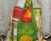 fabric drawstring backpack recycled kitchen towel apple/pineapple motif