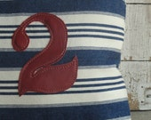 blue and white stripe denim cotton horizontal stripe ticking w/ red leather applique number 2