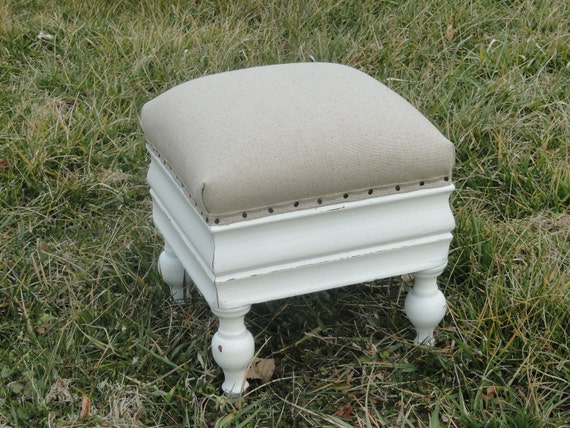 antique white painted distressed shabby chic small wooden upholstered stool