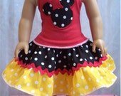 American Girl Waldorf Doll  Mickey  Minnie Mouse Clothes  Halter Twirl Skirt Top Tee Shirt  Outfits Clothes Clothing