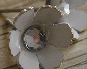 BOGO SALE - Post Earrings - White Metal Flower