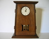 Arts and Crafts Mantel Clock with pendulum - tapered design