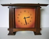 Arts and Crafts Mantel Clock with pendulum - copper colored dial