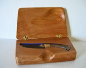 Knife Display Box from Cherry Burl with Native American Collectible Flint Knife - SALE 20% OFF