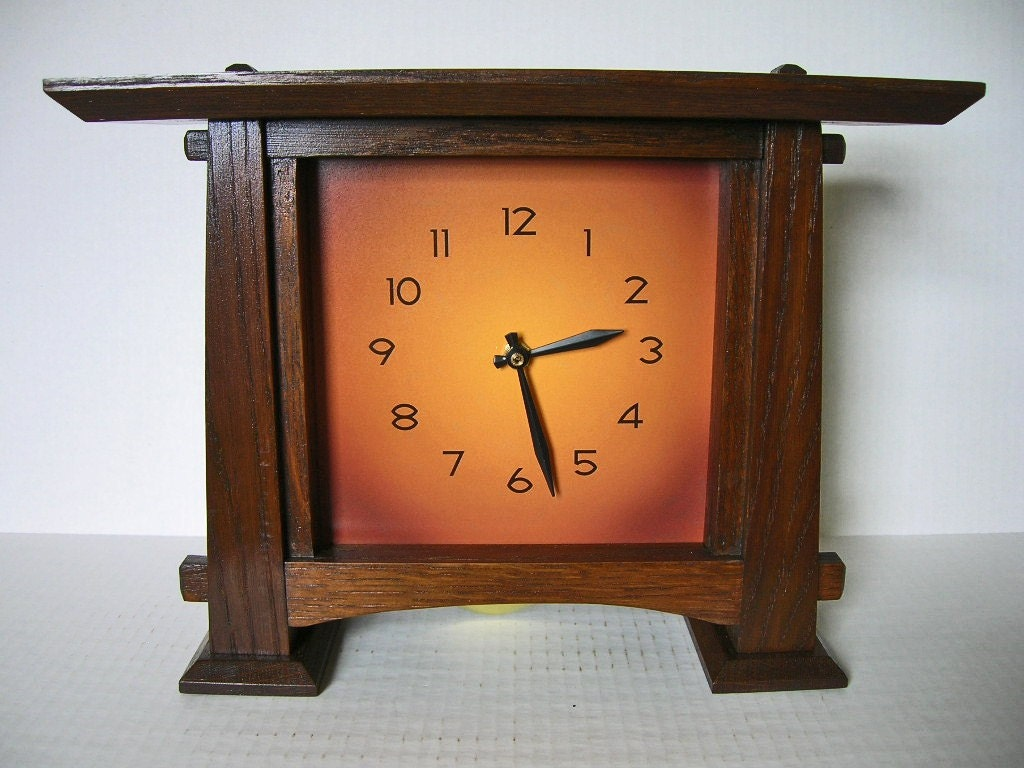 Arts and crafts mantel clock with pendulum copper colored for Arts and crafts mantle clock