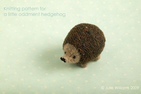 Knitting pattern for a little oddment hedgehog