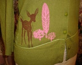 Green Printed Sweater w/ Deer and Pink Trees