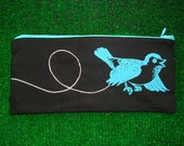 Printed Blue Bird Zippered Pouch