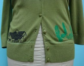 Ranch House w/Trees Green Printed Cardigan Sweater