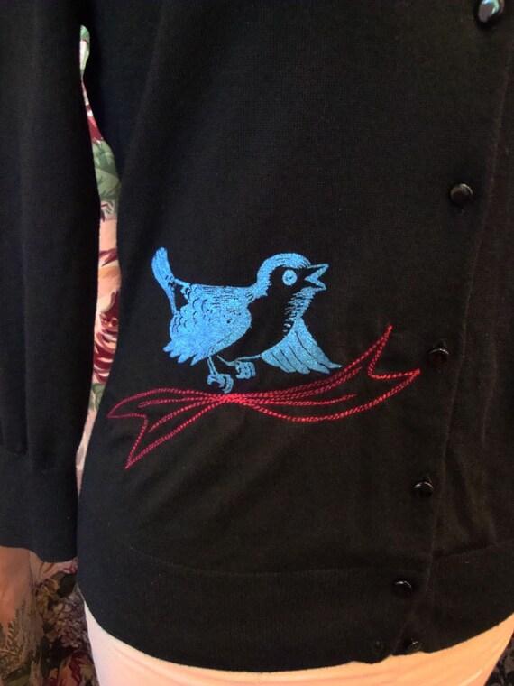 Blue Bird Printed Cardigan Sweater