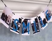 Littleput Vignettes Smile- vintage cameras and a winning message- a photo flag banner.