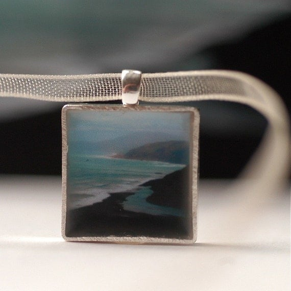 Wander. A sterling ocean-scape pendant in a tiny tin. Littleput Encaustic collection.