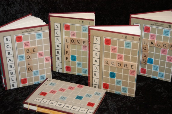 Scrabble Journal, hand bound with tiles Love Life