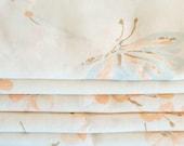 Vintage Fabric Fat Quarter - Peach Flowers Blue Butterfly