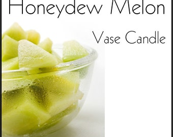 Honeydew Melon Vase Candle 2.8 oz Wax Melts - Highly Scented, Hand Poured Fresh, Premium Paraffin Soy Blend Wax Tarts, 25 Hour, Color Free