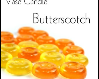 Butterscotch Vase Candle 2.8 oz Wax Melts - Highly Scented, Hand Poured Fresh, Premium Paraffin Soy Blend Wax Tarts, 25 Hour, Color Free