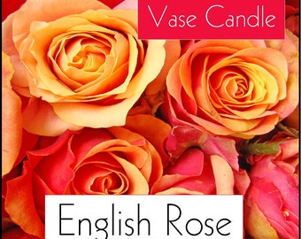 English Rose Vase Candle 2.8 oz Wax Melts - Highly Scented, Hand Poured Fresh, Premium Paraffin Soy Blend Wax Tarts, 25 Hour, Color Free