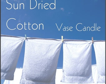 Sun Dried Cotton Vase Candle 2.8 oz Wax Melts - Highly Scented, Hand Poured Fresh, Premium Paraffin Soy Blend Wax Tarts, 25 Hour, Color Free