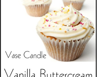 Vanilla Buttercream Vase Candle 2.8 oz Wax Melts - Highly Scented, Hand Poured Fresh, Paraffin Soy Blend Wax Tarts, 25 Hour, Color Free