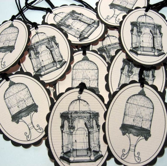 Paris Birdcage Tags in Blush Pink and Black
