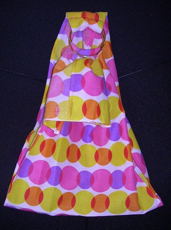 SALE-XL Doll Carrying Ring Sling-Yellow, Orange, Pink and Purple Mod Dot
