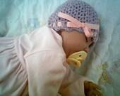 Lavender W-Pink Ribbon  --  Beanie  --  Newborn - 03 Months